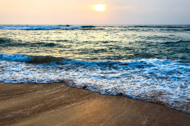 sunset landscape beach. stock photo