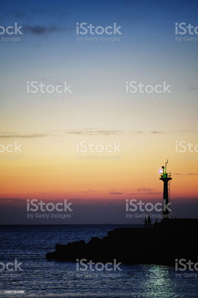 Sunset Landscape from Yongan Fish Harbor in Xinwu District, Taoyuan, Taiwan. stock photo