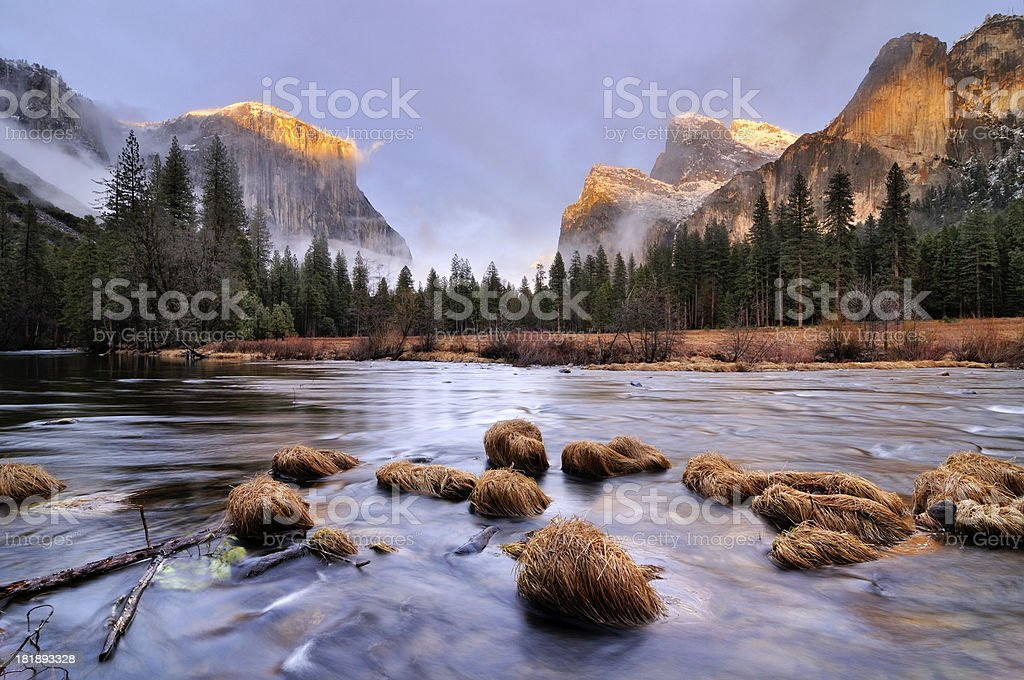 Sunset landscape in Yosemity Valley stock photo