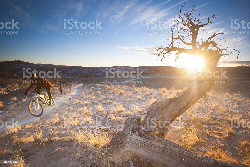 sunset landscape mountain biker royalty-free stock photo