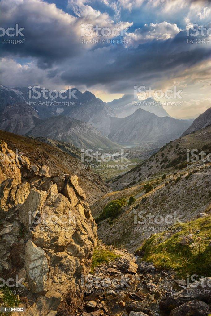 Sunset landscape of beautiful rocky Fan mountains stock photo