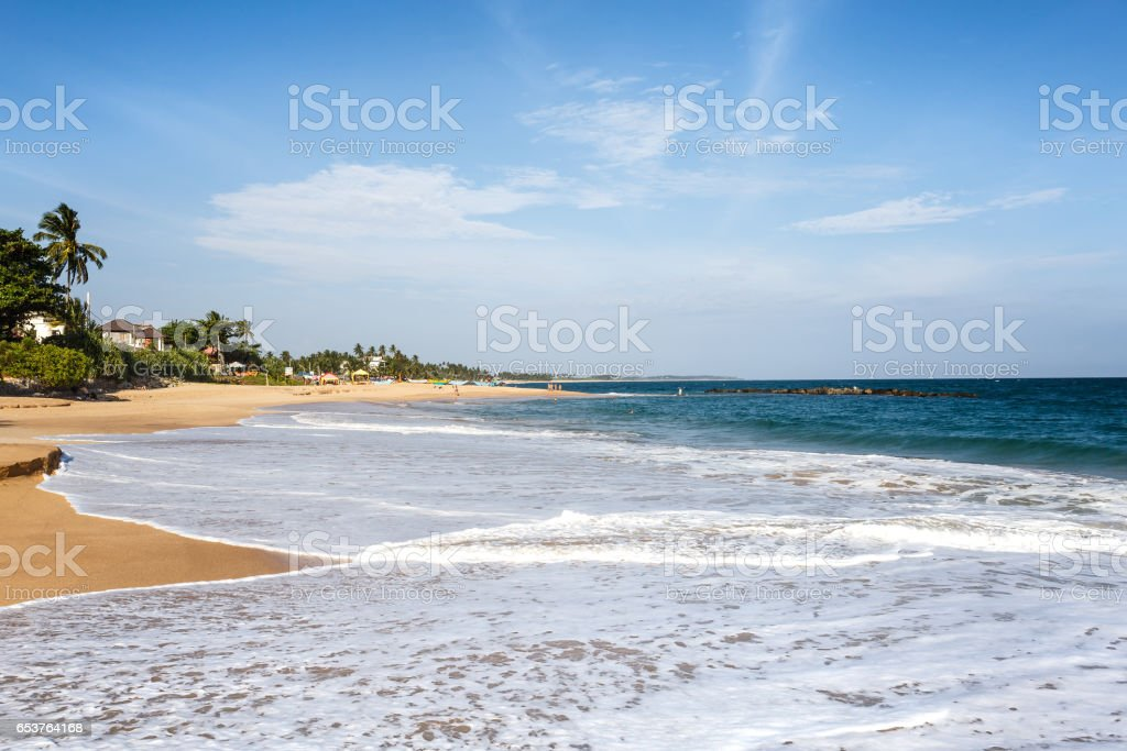 Sunset landscape on the beach stock photo