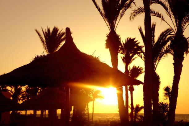 sonnenuntergang landschaft  - urlaub in tunesien stock-fotos und bilder