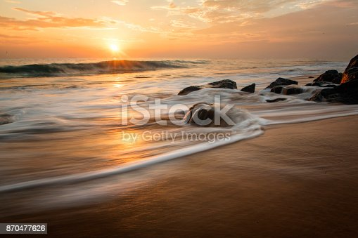 Sunset on the Sri Lanka wild beach.