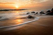 Sunset on the Sri Lanka wild beach.
