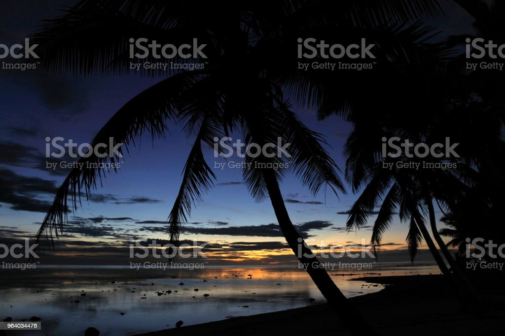 Sunset landscape view of a beach in the Coral Coast Fiji - Royalty-free Beach Stock Photo