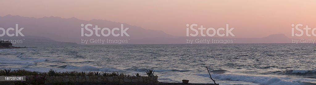Sunset Landscape wide panorama of Crete sea, Greece. royalty-free stock photo