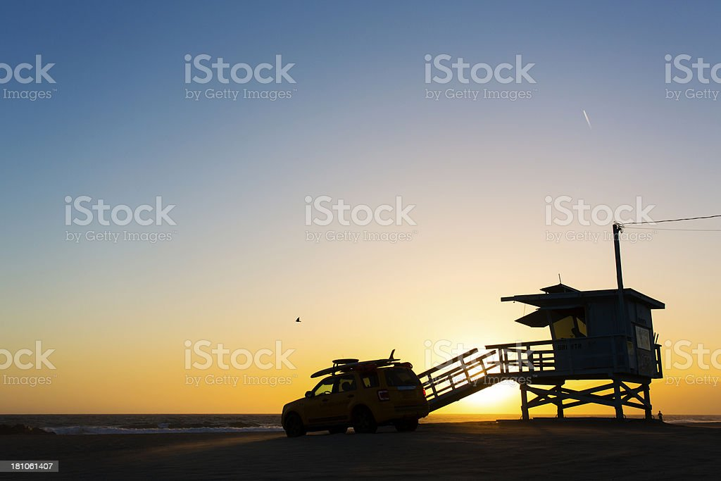 Sunset Lifeguard Tower royalty-free stock photo