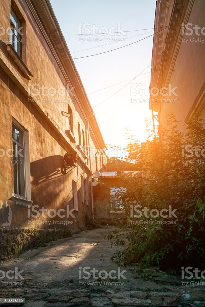 Sunset light on the building wall stock photo