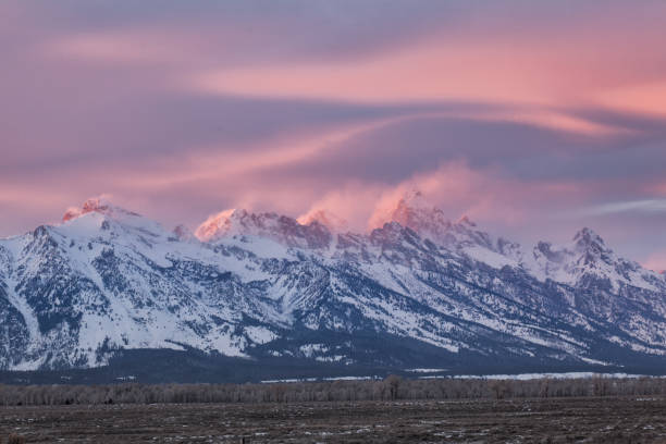 Sunset light on the Grand Teton stock photo