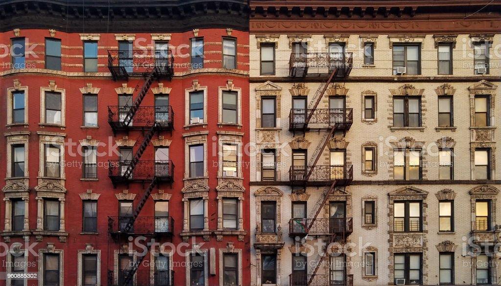 Sunset Light Reflected In Building Windows New York City Stock Photo