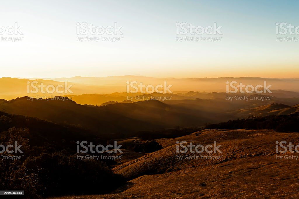 Sunset Lighting On Rolling Foothills From Mount Diablo stock photo