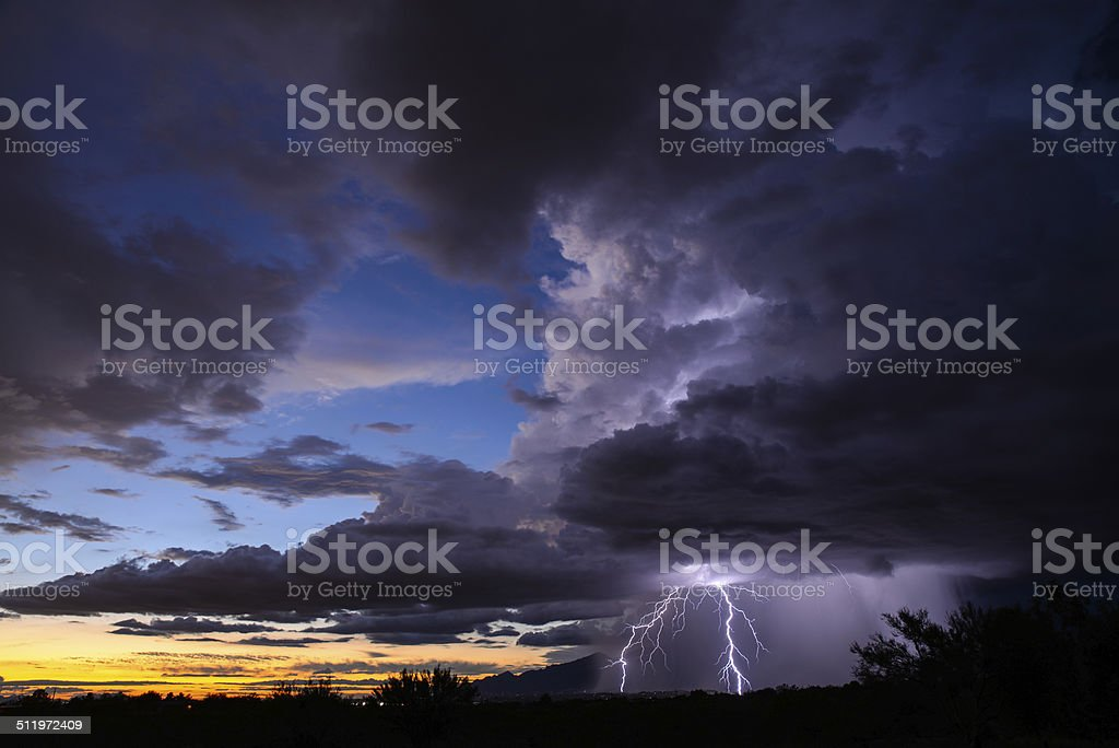 Sunset Lightning stock photo