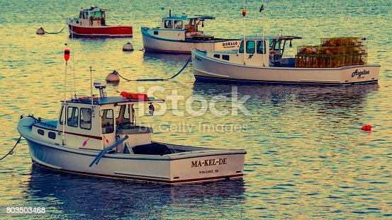 Sunset Lobster Boats Moored at Wiscasset Harbor, Maine