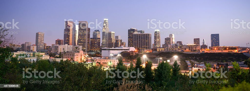 Sunset Los Angeles California Downtown City Skyline stock photo