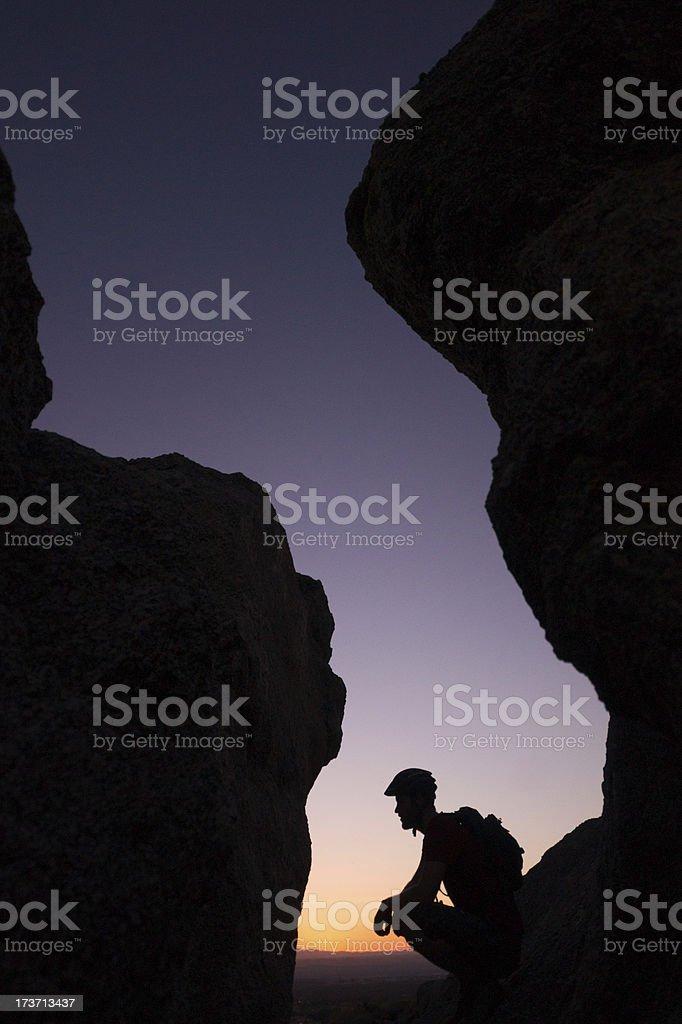 sunset man thinking royalty-free stock photo