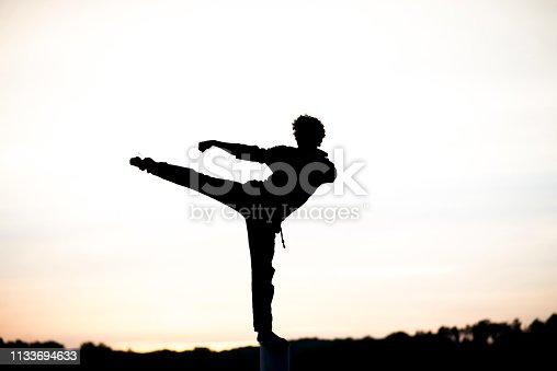 Anonymous silhouette of a young man kicking and punching as he practices martial arts at sunset.
