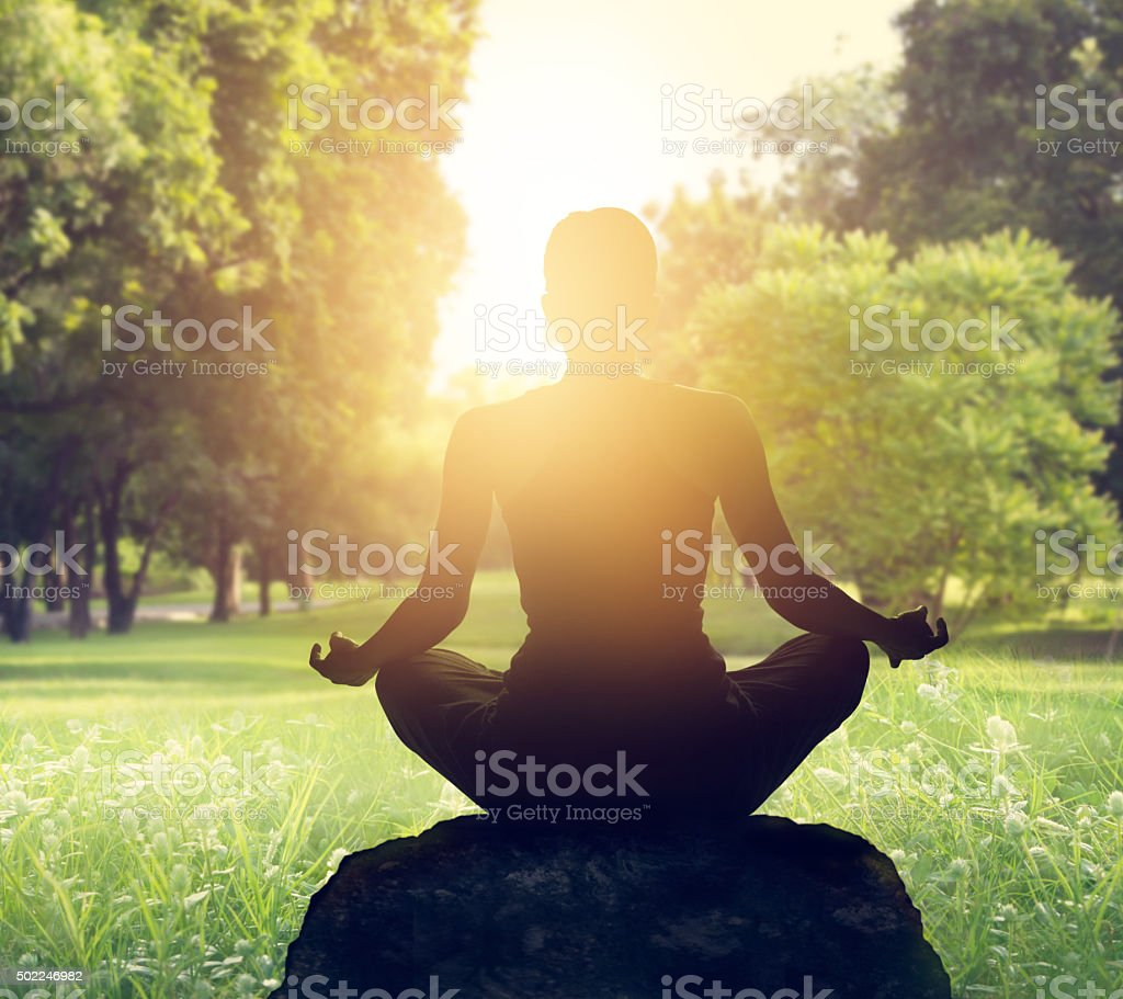 Sunset meditation in forest stock photo
