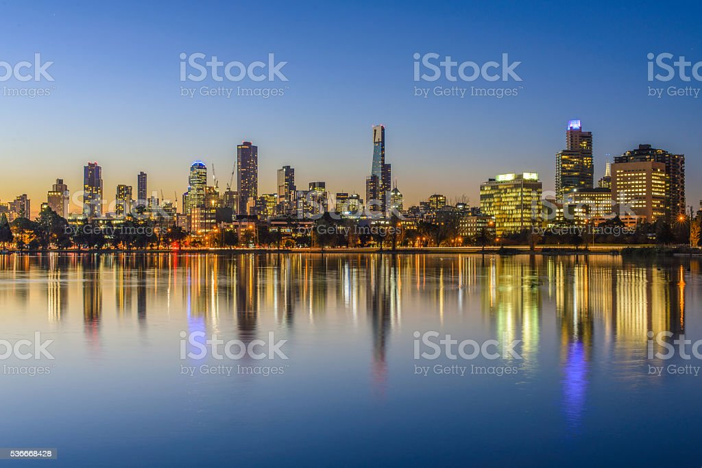 Sunset, Melbourne. stock photo