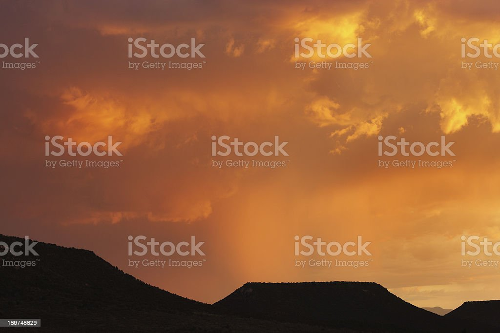 Sunset Monsoon Rain Clouds Mesa Landscape royalty-free stock photo
