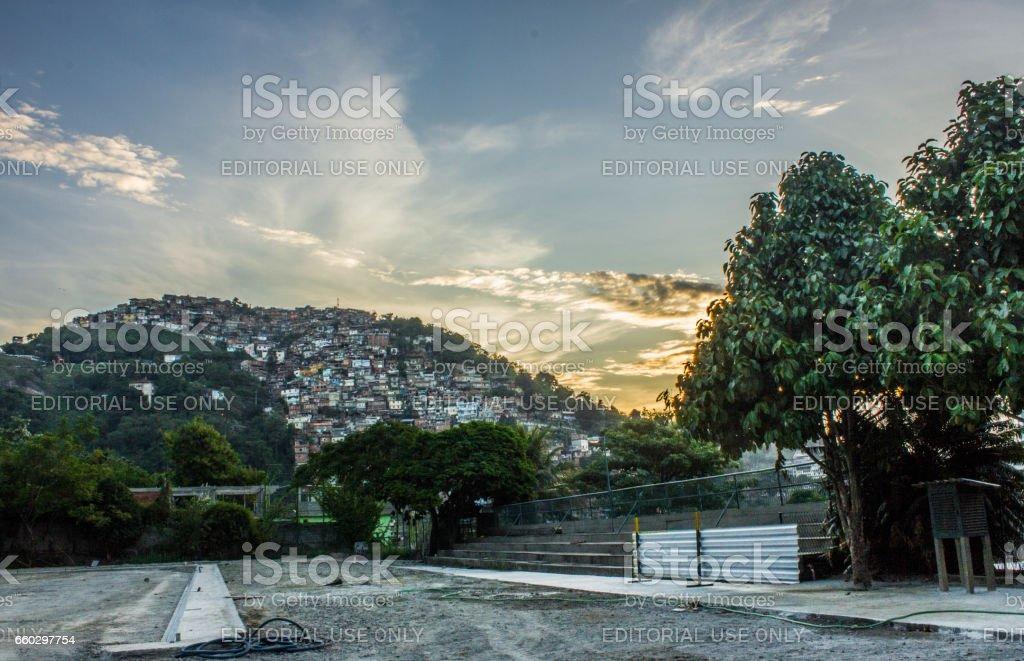 Sunset Morro dos Prazeres stock photo
