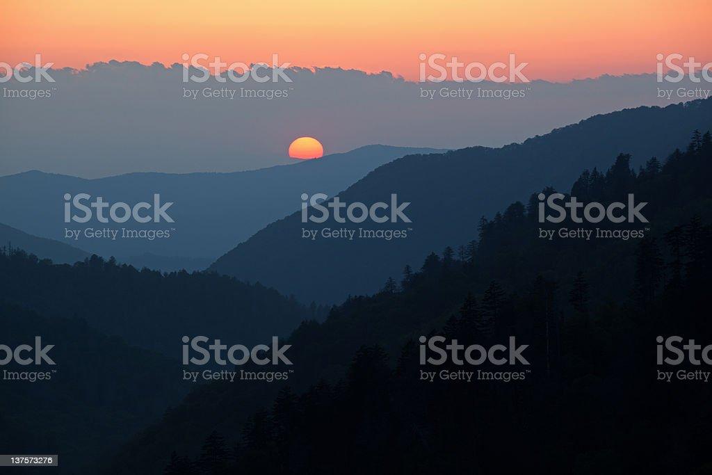 Sunset, Morton Overlook stock photo