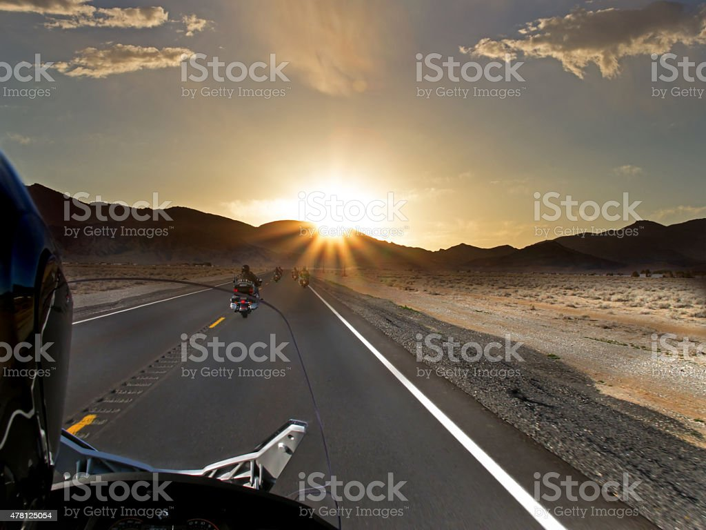 Sunset Motorcycle ride stock photo