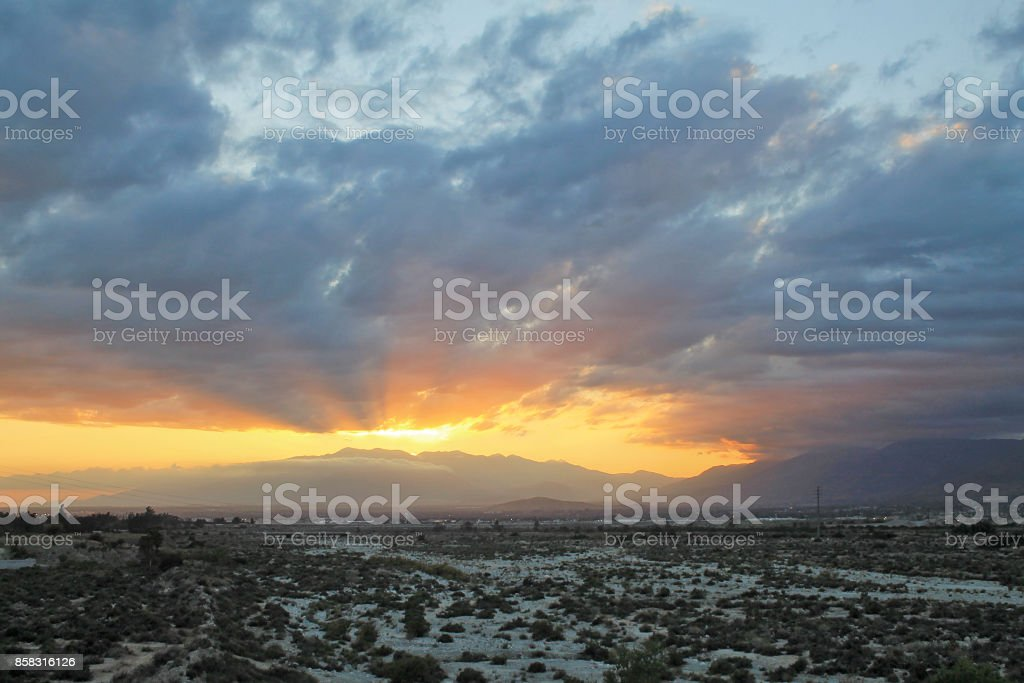 Sunset Mount Baldy May 2016 stock photo