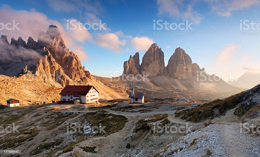Sunset mountain in Italy Dolomites - Tre Cime stock photo