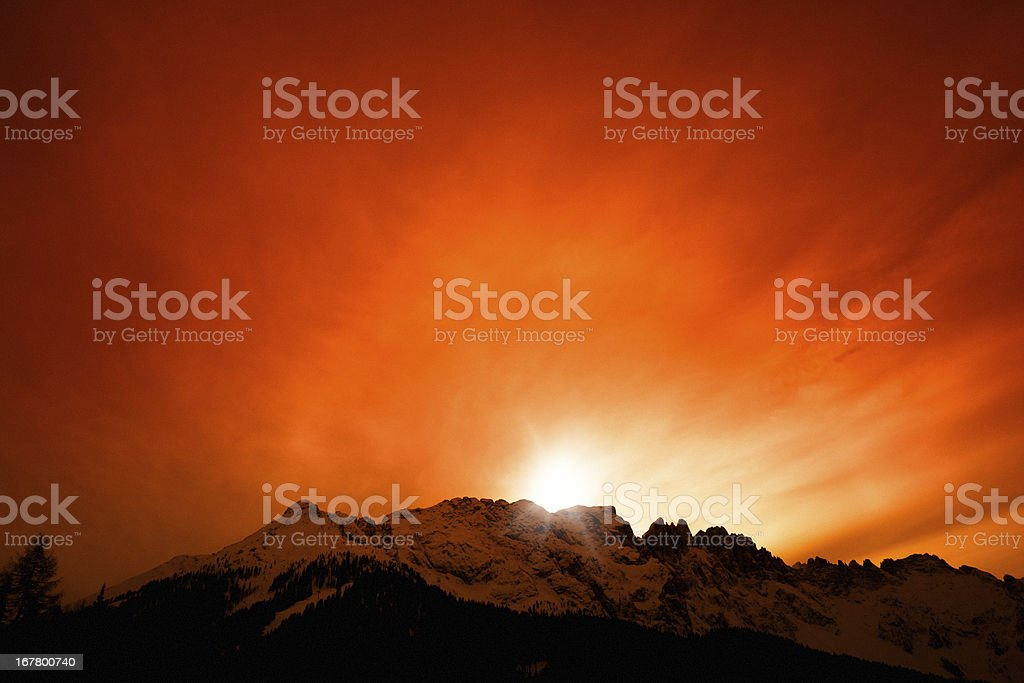 Sunset, Mountain Landscape, Italian Alps, Dolomites Latemar royalty-free stock photo