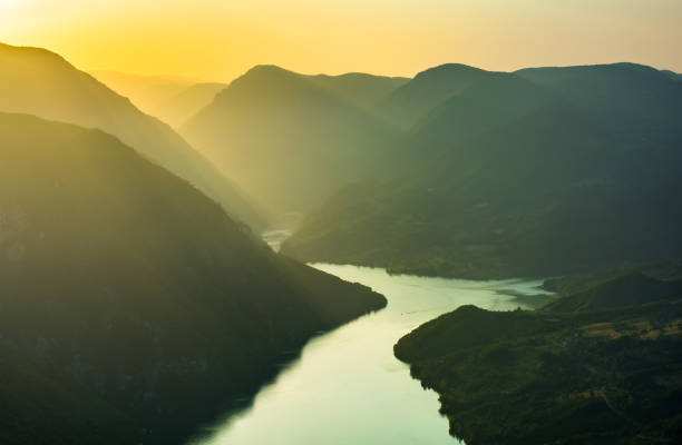 sunset mountain landscape - serbia stock photos and pictures