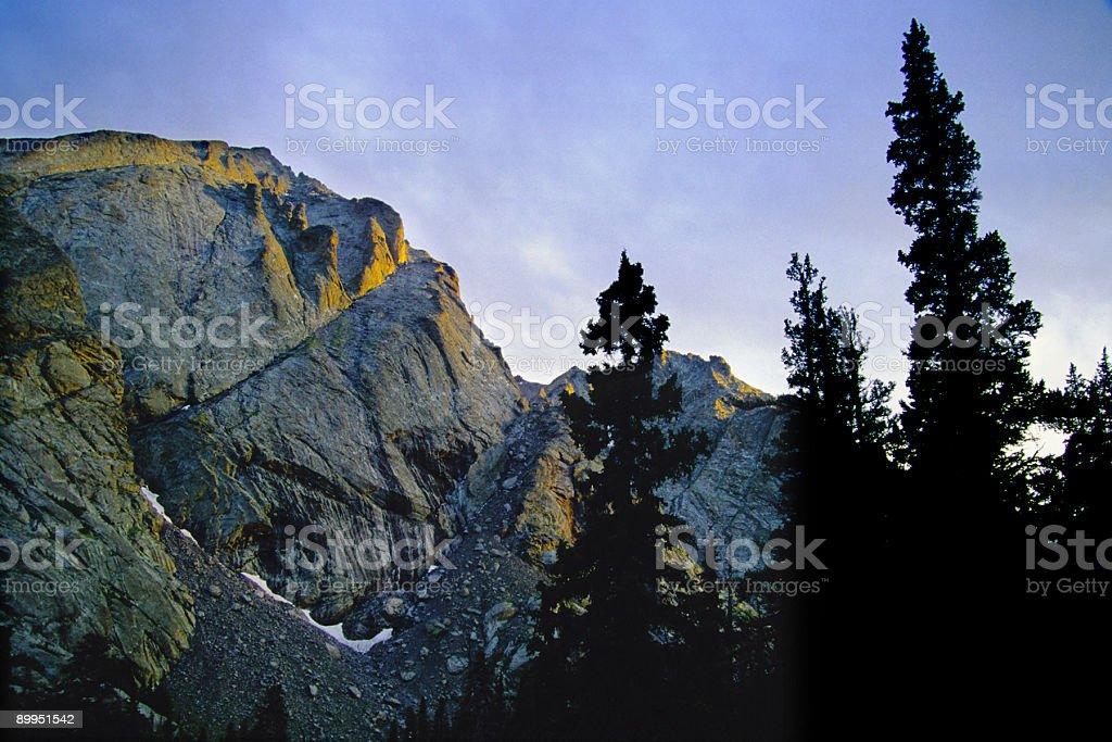 sunset mountain landscape tree silhouettes royalty-free stock photo