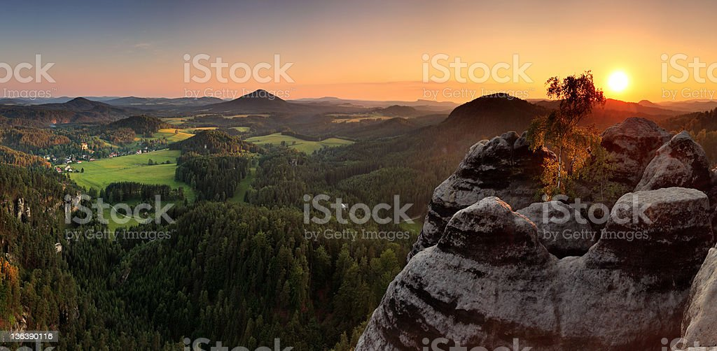 Sunset mountain panorama - Saxony royalty-free stock photo