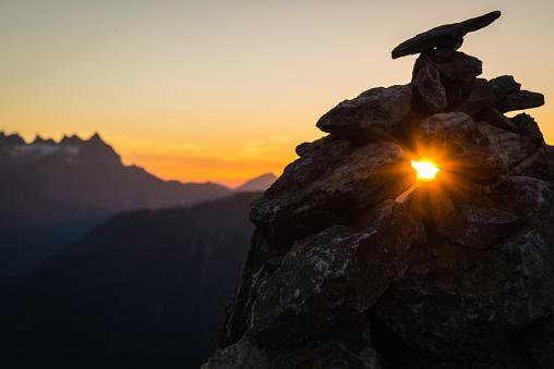 Sunset mountain silhouette