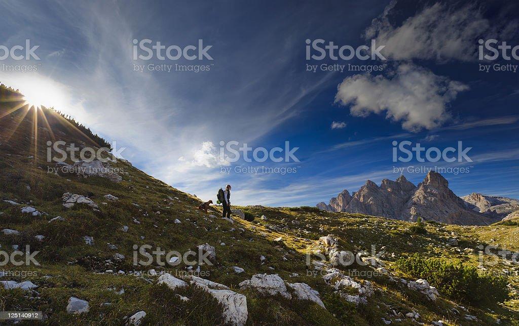 Sunset mountains stock photo