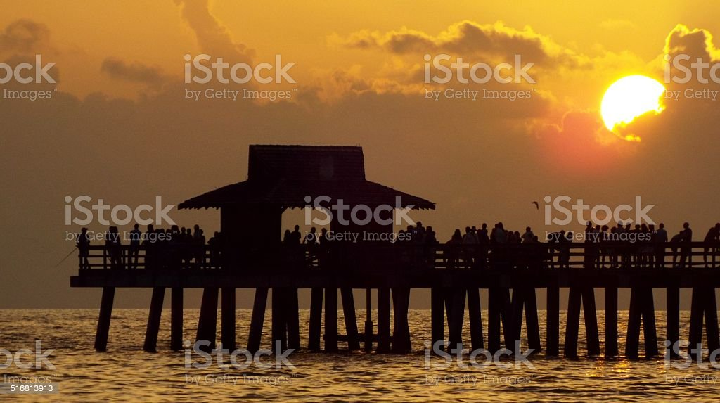 Sunset Naples Florida Pier stock photo