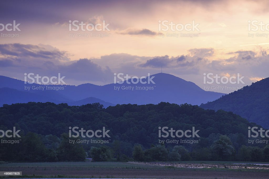 Sunset nature mountains stock photo