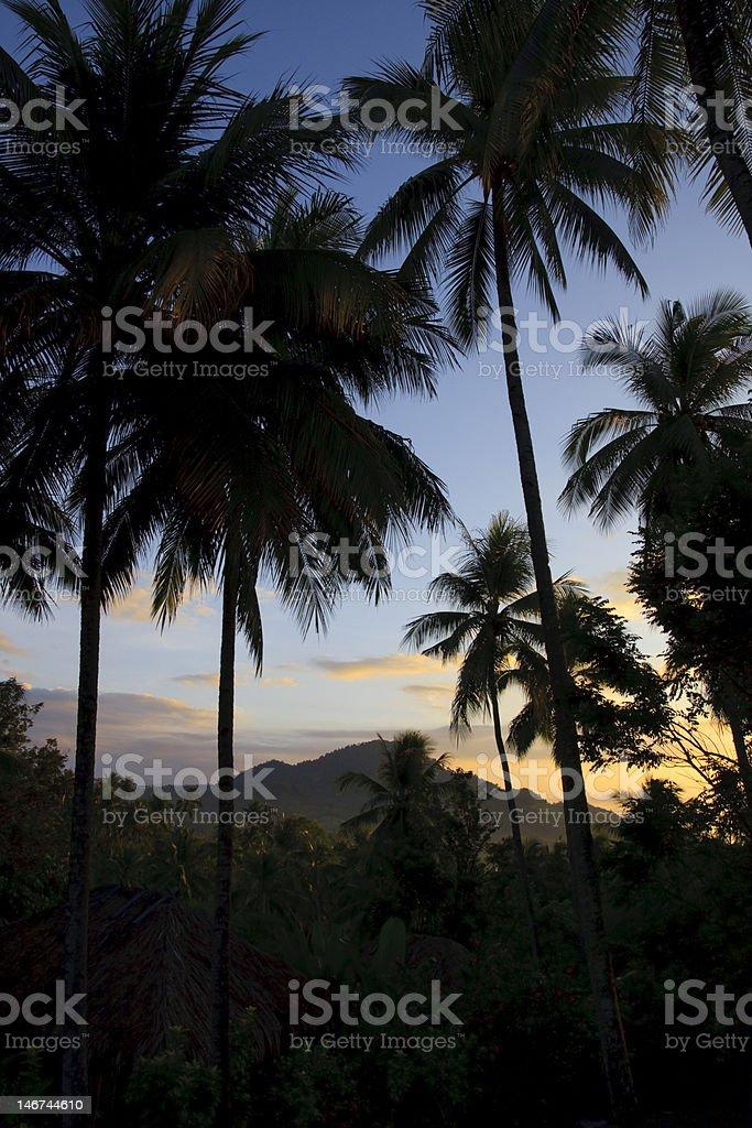 Sunset near Bunaken Indonesia stock photo
