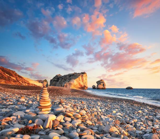 sunset near petra tou romiou, cyprus, paphos - cyprus стоковые фото и изображения
