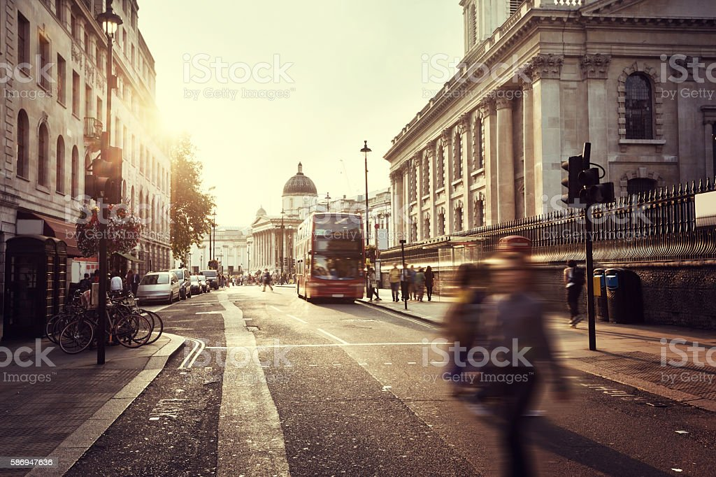 sunset near Trafalgar square, London, UK stock photo