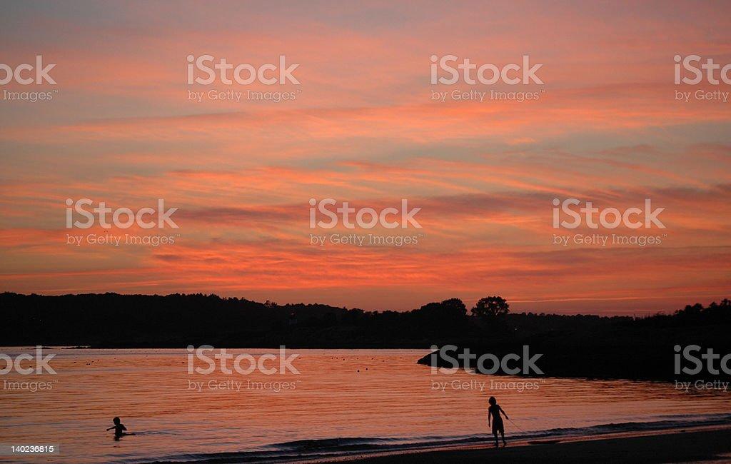 Sunset, Niles Beach, Gloucester, MA stock photo