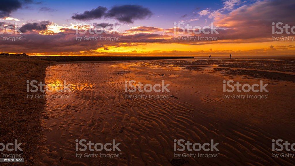 Sunset Northsea Sonnenuntergang Nationalpark Wattenmeer Nordsee stock photo