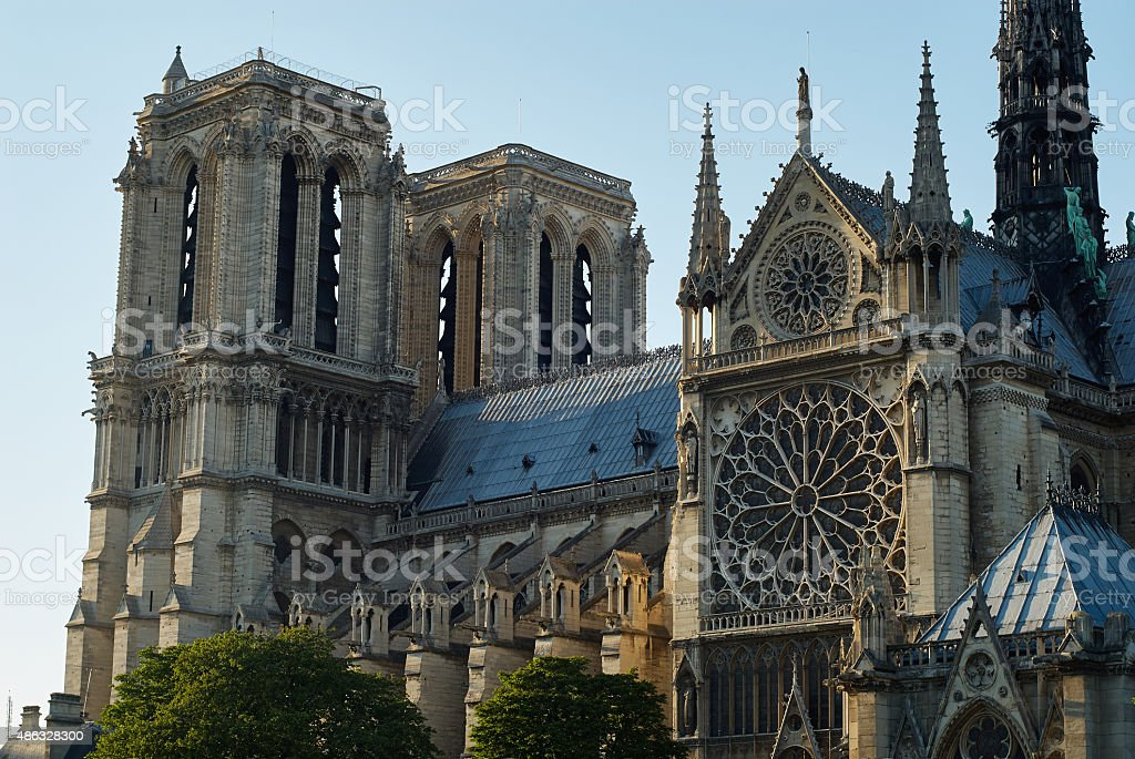 Sunset, Notre Dame Cathedral, Paris, France. stock photo