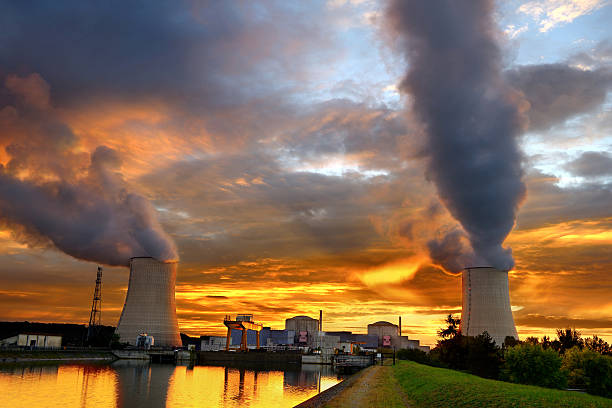 sunset nuclear plant stock photo
