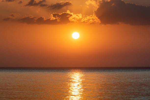 Sunset observed from Pindobal Beach stock photo