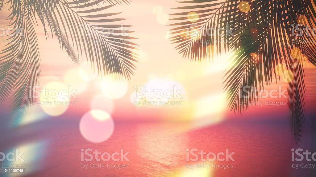 3D sunset ocean with palm tree fronds and vintage effect stock photo