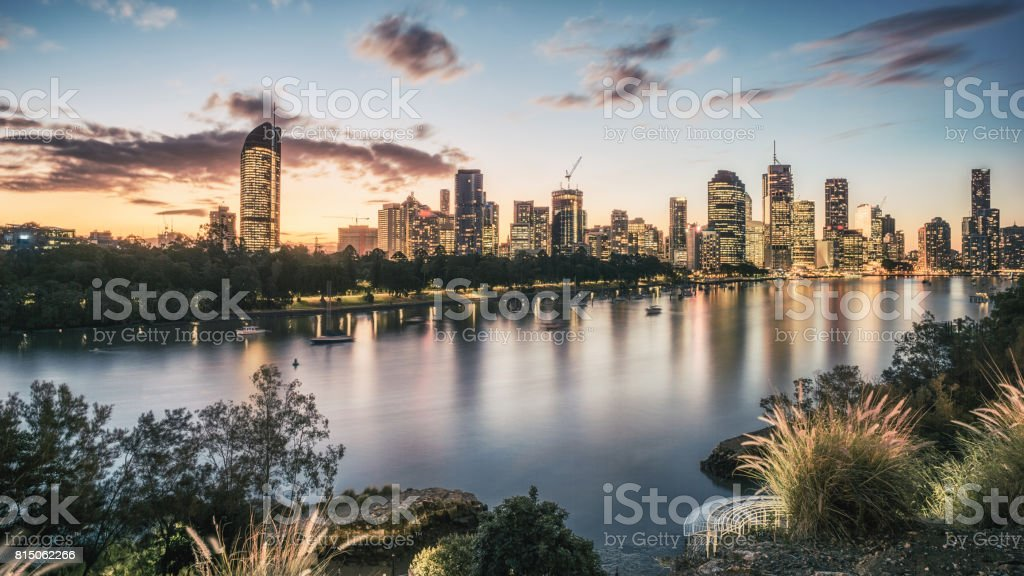 Sunset of Brisbane City, shot from Kangaroo Point stock photo