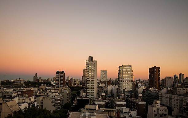 Sunset of Buenos Aires skyline landscape stock photo