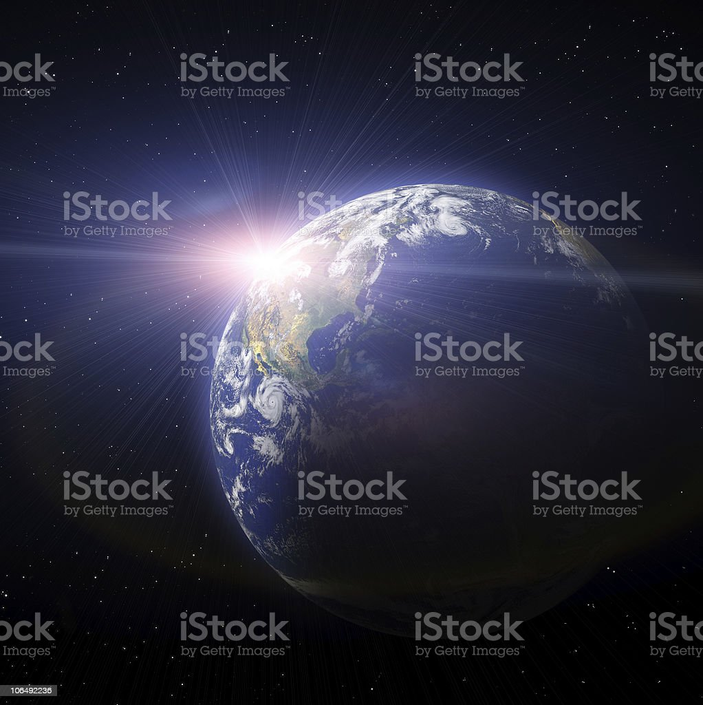 Sunset Of Earth Planet stock photo