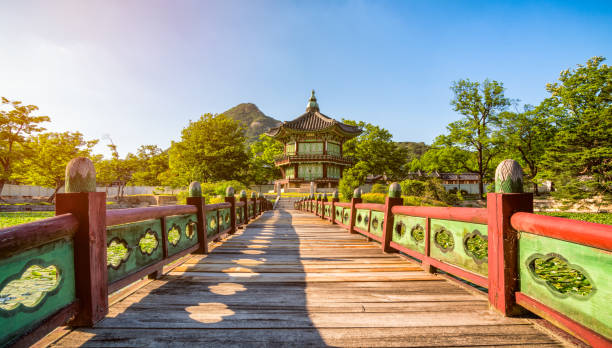Sunset of Gyeongbokgung Palace in Seoul ,Korea. stock photo